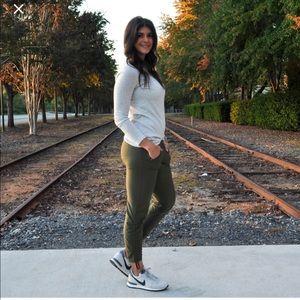 ATHLETA aspire nylon jogger pants fatigue green 6